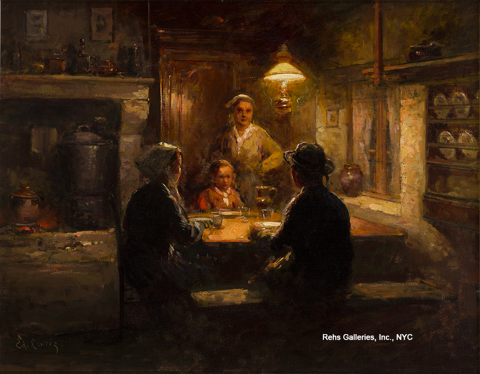 """Painting of the Day (hitting the SOLD archives this week) – Edouard Cortes's """"Breton Interior"""""""
