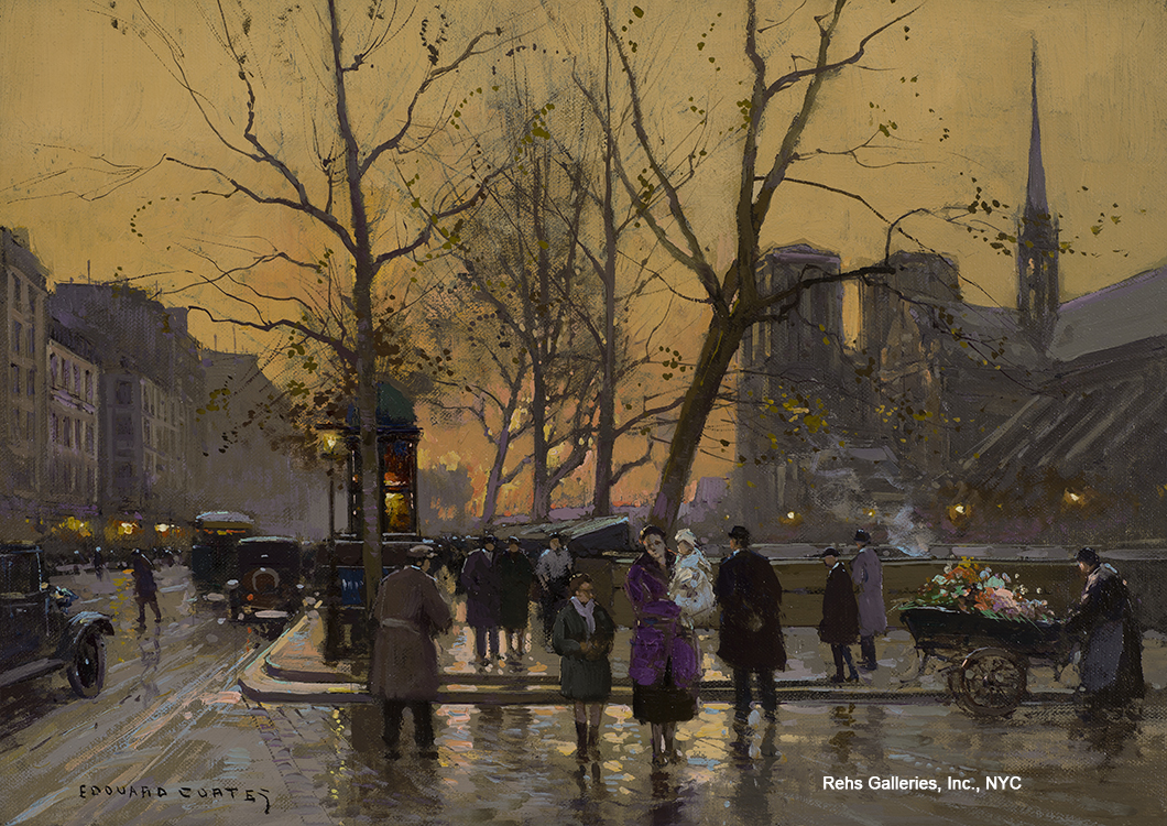 "Painting of the Day (AVAILABLE) – Edouard Cortes's ""Notre Dame au Crepuscule"""