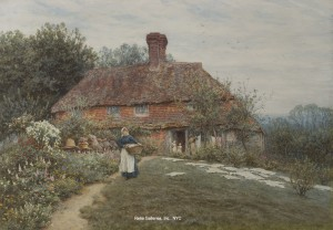 "Painting of the Day (SOLD yesterday) – Helen Allingham's ""Old Sussex Cottage"""