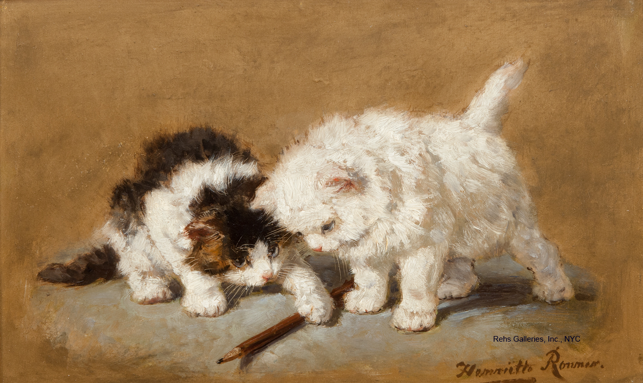 "Painting of the Day (SOLD archives) – Henriette Ronner-Knip's ""Cats with a Pencil"""