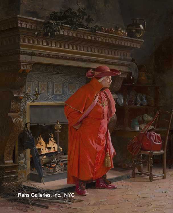 "Painting of the Day (just hitting the SOLD archives) – Jehan-Georges Vibert's ""A Warm Fire"""