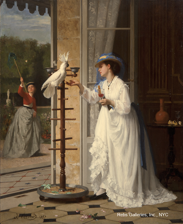 Painting of the Day (SOLD archives) – Joseph Caraud's The Pet Cockatoo (1867)