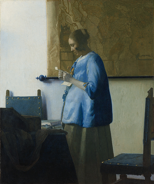 Johannes Vermeer: Woman in Blue Reading a Letter (Getty Center Installation)