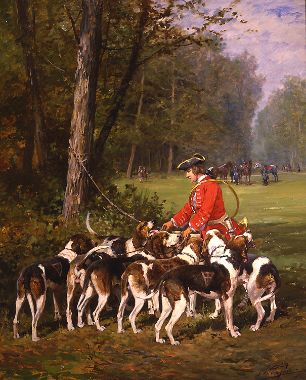 "Painting of the Day (SOLD archives) – Charles O. de Penne's ""Hounds Before the Hunt"""