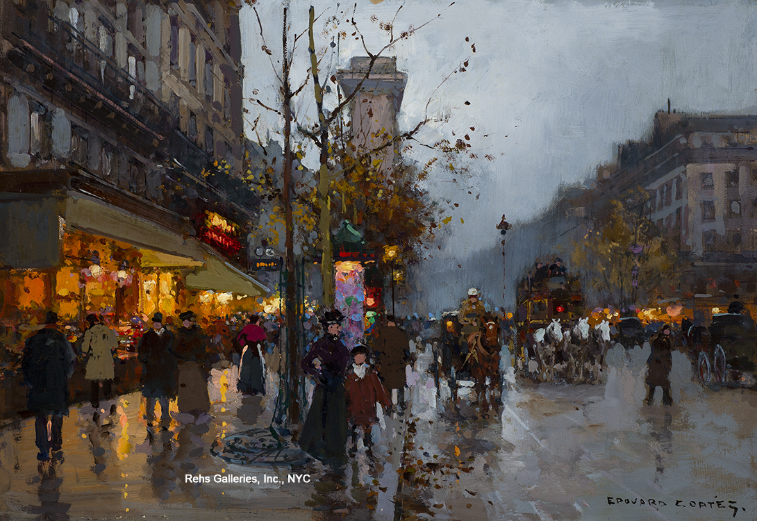 "Painting of the Day (SOLD archives) – Edouard Cortes's ""Porte St. Denis"""