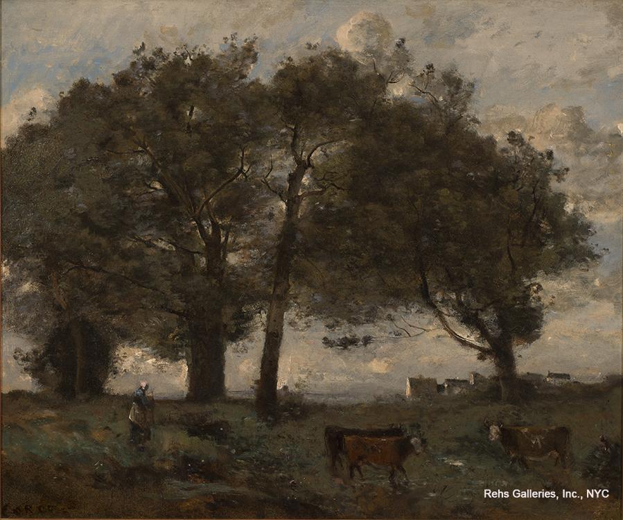"Painting of the Day (AVAILABLE) – Jean B.C. Corot's ""Marecages boisee avec trois vaches"""