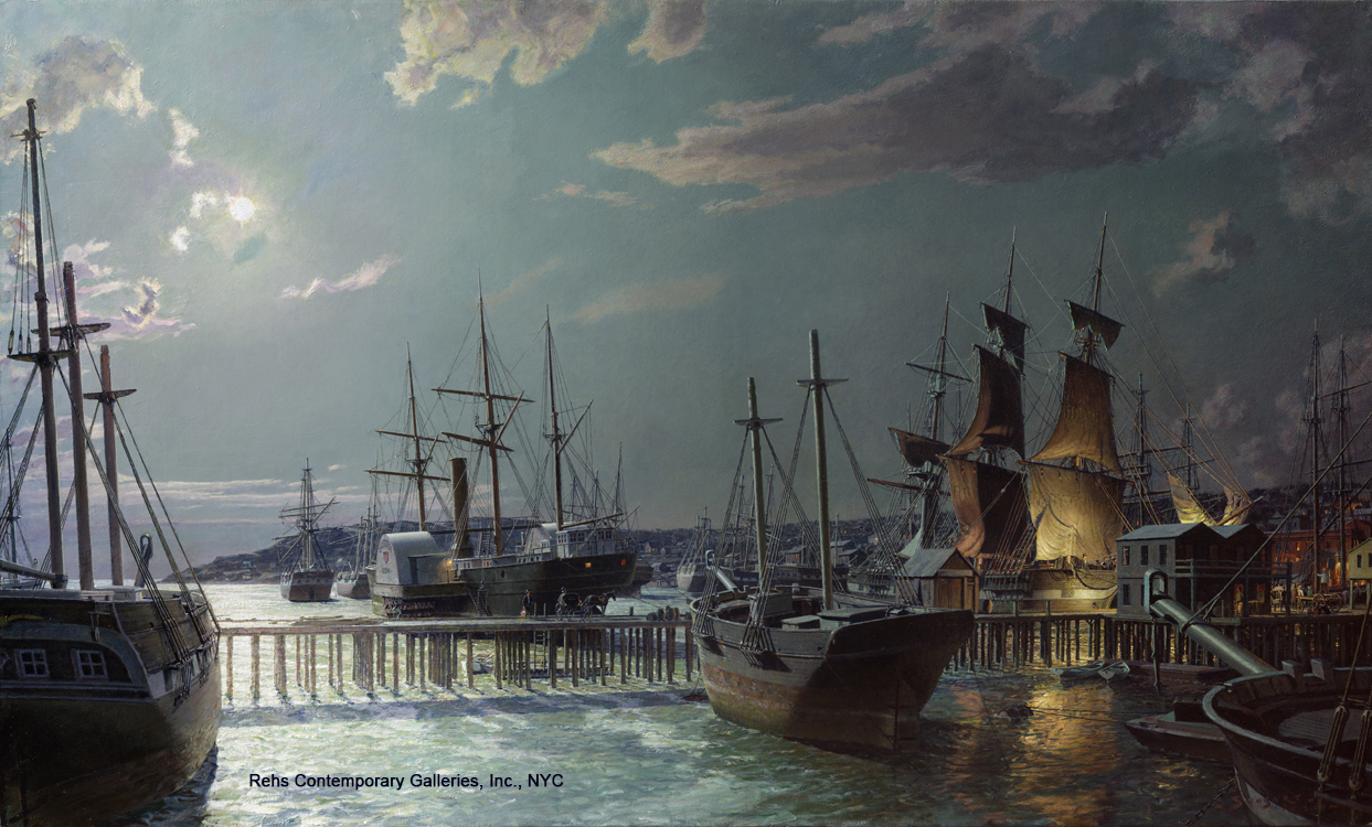 "Painting of the Day (AVAILABLE) John Stobart's ""San Francisco, The Gold Rush Harbor by Moonlight in 1851"""