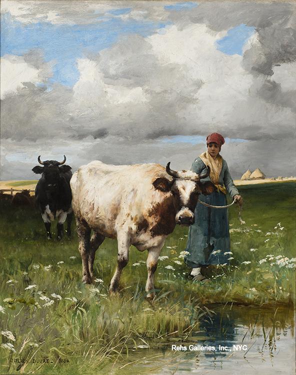 """Painting of the Day (AVAILABLE) – Julien Dupre's """"Femme et la vache de l'eau"""""""