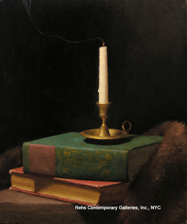 """Painting of the Day (AVAILABLE) Justin Wood's """"Still Life of Candle and Books"""""""