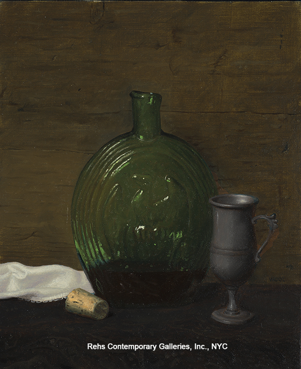 "Painting of the Day (AVAILABLE) Justin Wood's ""Still Life with American Flag Flask and Pewter Cup"""