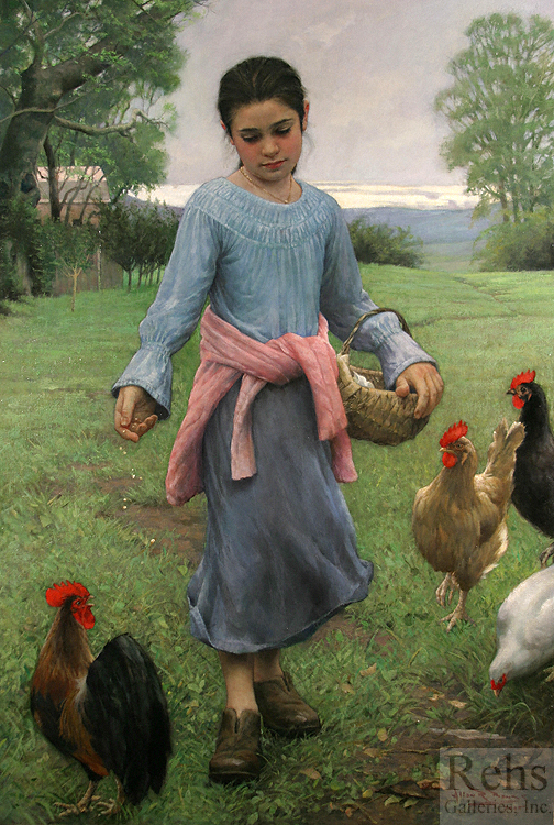 "Painting of the Day (SOLD) Allan Banks's ""Girl Feeding Her Chickens"""