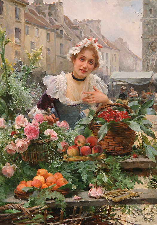 "Painting of the Day (SOLD archives) – Louis M. de Schryver's ""The Flower Seller"""