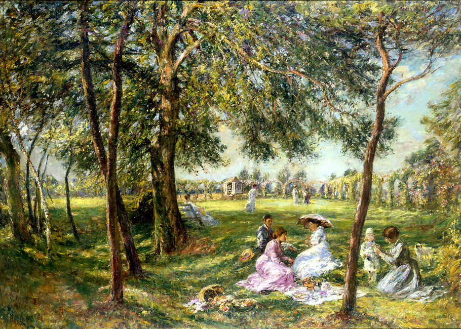 """Painting of the Day (SOLD archives) – William Mark Fisher's """"In the Garden"""""""