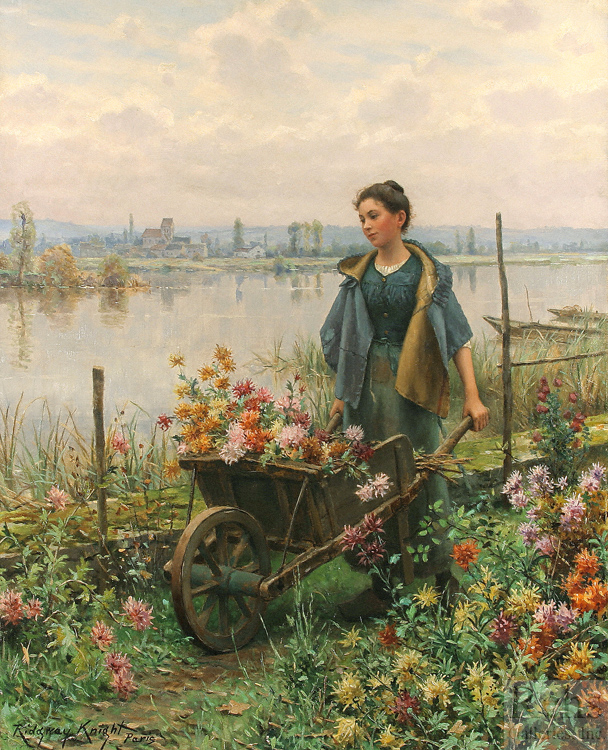 "Painting of the Day (SOLD archives): Daniel Ridgway Knight's ""Gathering Flowers"""