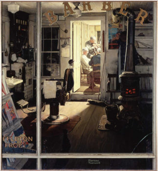"Norman Rockwell (1894-1978), ""Shuffleton's Barbershop,"" 1950. Oil on canvas, 31"" x 33"". Cover illustration for ""The Saturday Evening Post,"" April 29, 1950. Collection of the Berkshire Museum. Norman Rockwell Museum Digital Collections. ©SEPS: Curtis Publishing, Indianapolis, IN."