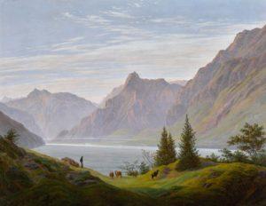 "Caspar David Friedrich ""Landscape with Mountain Lake, Morning"""