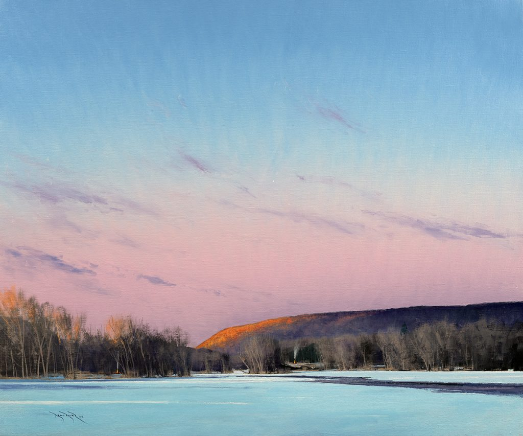 Dusk and Bonfires on the St Croix<br /> Oil on canvas<br /> 30 x 36 inches<br /> Signed<br /> $10,500.00