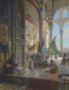 "Gustav Bauernfeind ""Forecourt of the Umayyad Mosque, Damascus"""