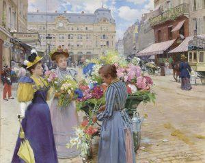 Louis de Schryver's Marchand de fleurs, la rue du Havre, Paris