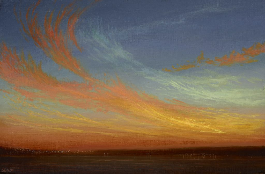 Ken Salaz  <br/>Dancing Dragontail Sunset<br/>Oil on panel<br/>8  x 12 inches<br/>Signed<br/>$2,300
