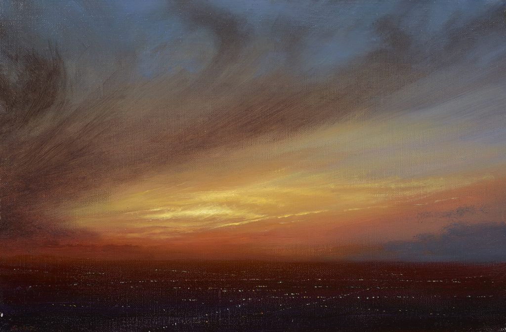 Ken Salaz  <br/>Hearts on Fire <br/> Oil on panel<br/> 10 x 12 inches<br/> Signed<br/> $2,300