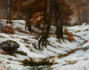 Gustave Courbet's Paysage de neige avec arbres et rochers