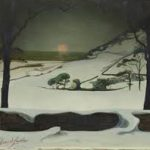 """Saedeleer """"Paysage d'hiver, coucher du soleil"""""""