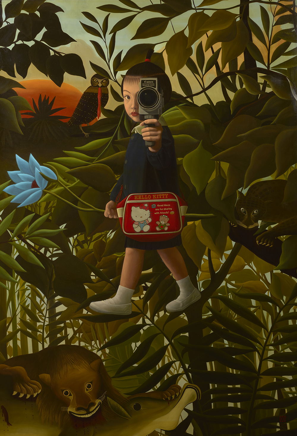 Naoko Walking in Rousseau's Forest <br /> Oil  on canvasboard <br /> 63.75 x 44.12 inches <br />  $65,000.00