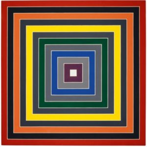 Frank Stella titled Gray Scramble IX (Single) c. 1968 – 69