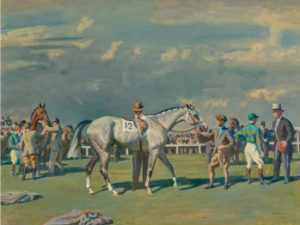Alfred Munnings' racing scene - Mahmoud Being Saddled for the Derby, 1936