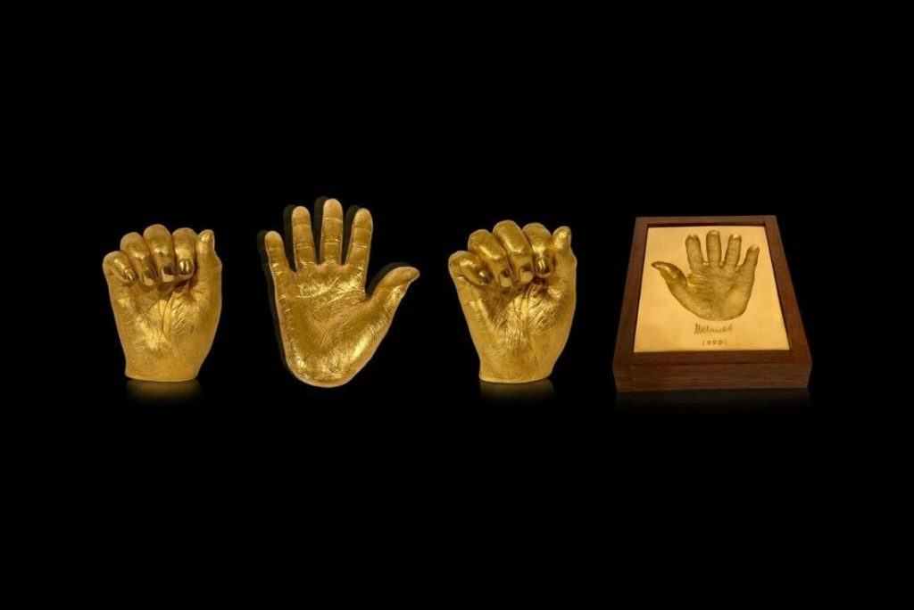 Nelson Mandela Gold Hands Sculptures