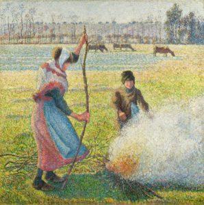 Pissarro's Gelée blanche, jeune paysanne faisant du feu