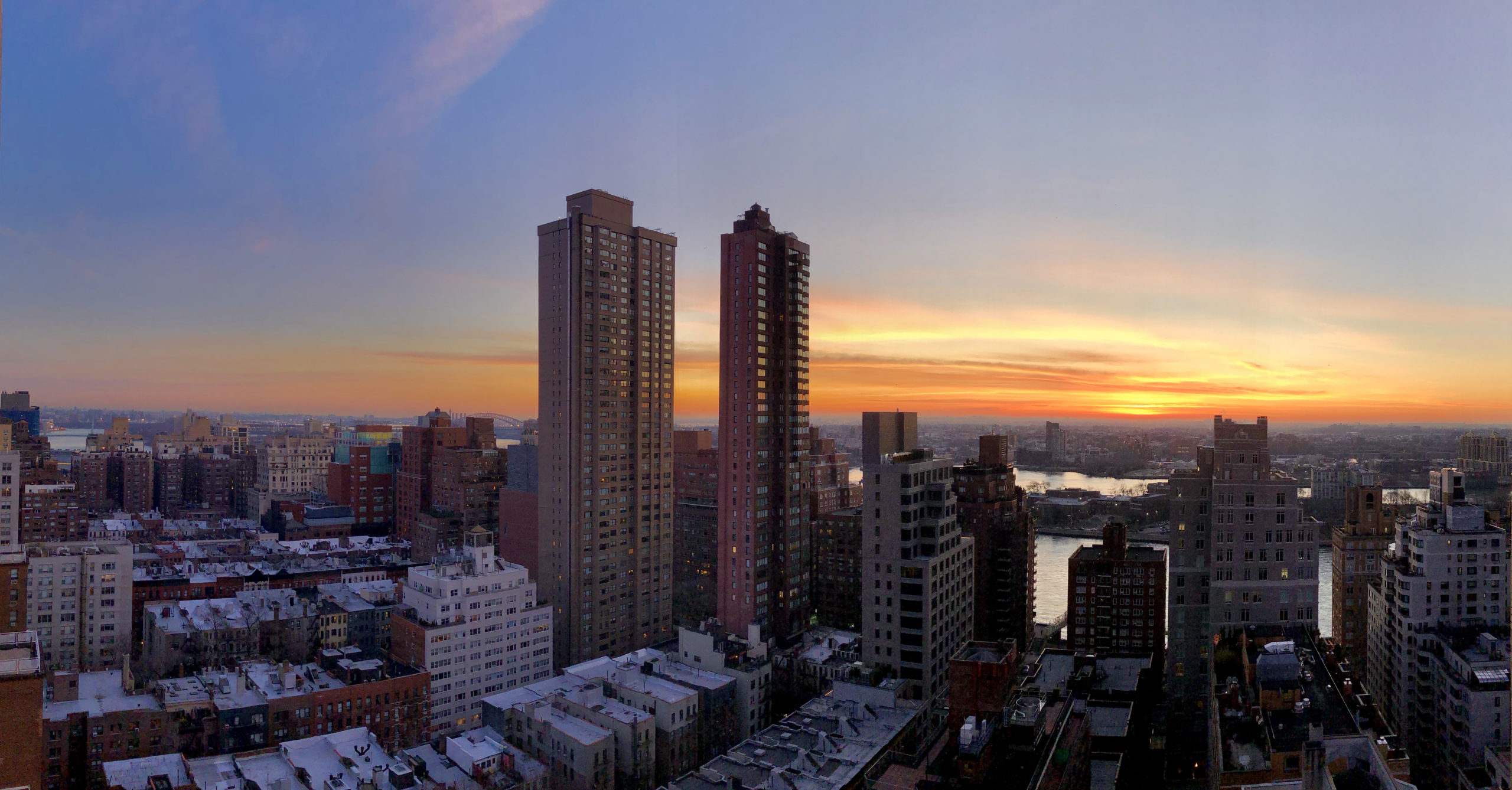 Sunrise over the East River from my apartment on the Upper East Side