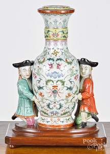 Imperial Vase dutch men kneeling on wood platform