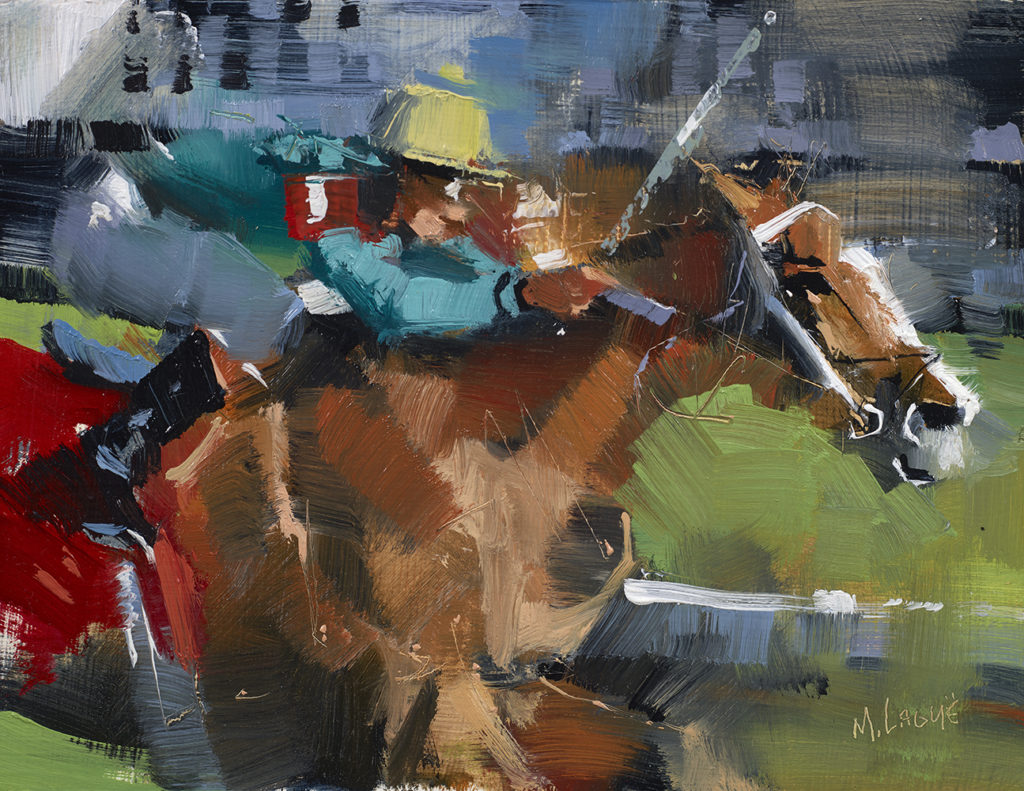 Mark Lague <br/> Thoroughbreds Three<br/>Oil on panel<br/> 8 x 10 inches<br/> Signed<br/> $1,500