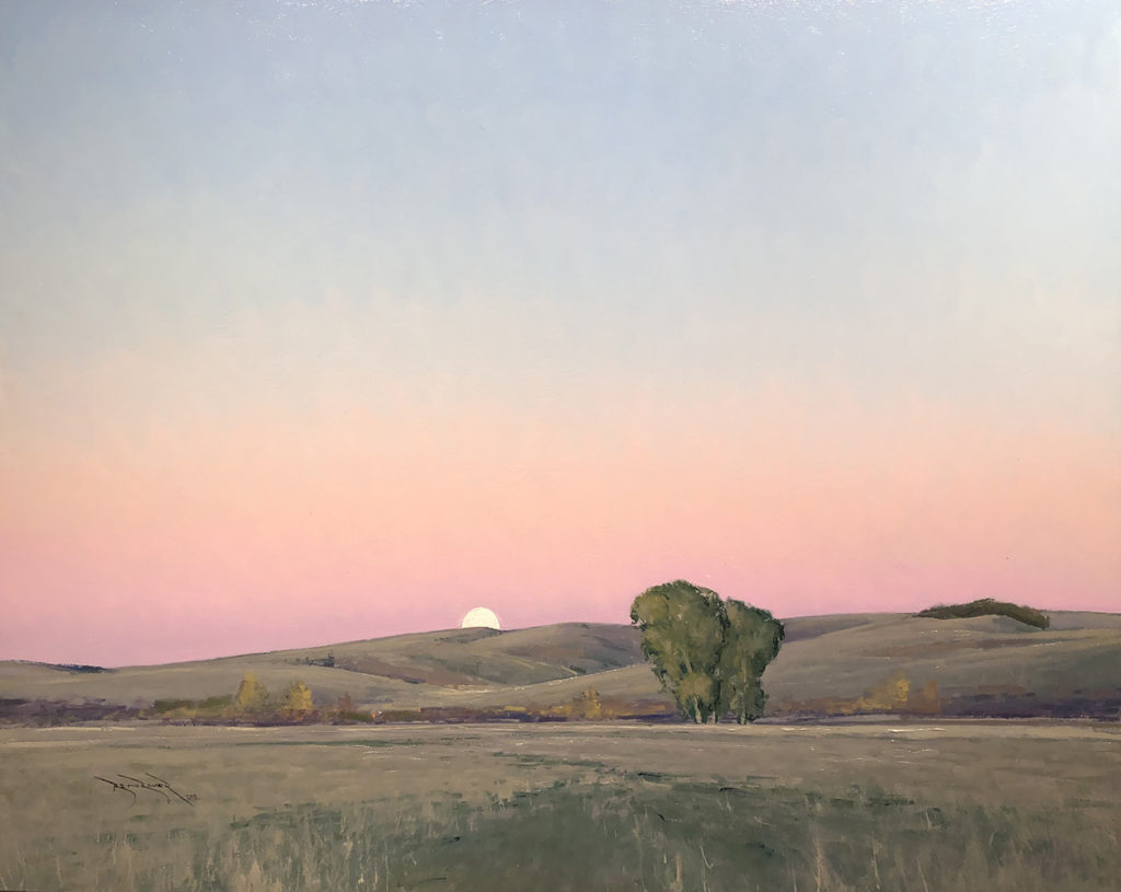 Moonrise in Lowry, MN<br /> Oil on aluminum<br /> 24 x 30 inches<br /> Signed<br /> $8,900.00