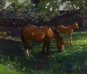 Munning's Springtime, Apple Blossom with a Mare and Foal