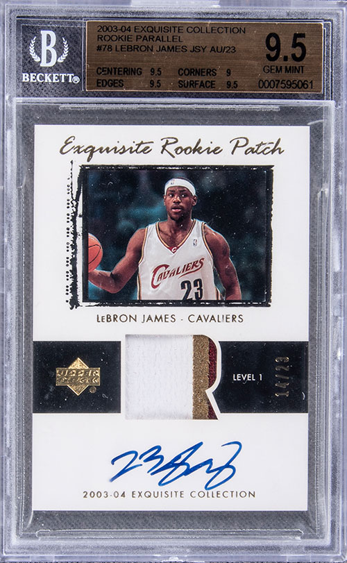 2003-04-Upper-Deck-Exquisite-Rookie-Auto-Patch-Parallel-LeBron-James-BGS-9-5-Goldin-July-2020