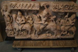 8th-century sandstone panel depicting an equestrian deity
