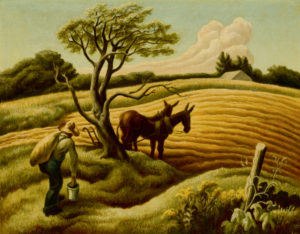 midwest landscape with farmer and horses