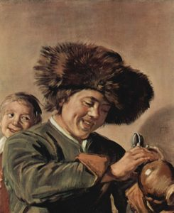 painting of two boys and a mug of beer
