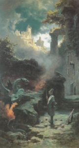 man and dragon in a landscape