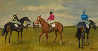 racehorses and jockeys