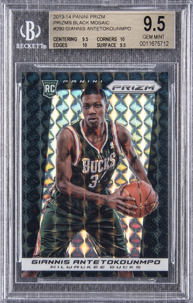 giannis antetockounmpo holding a basketball for in a Panini prizm black mosaic basetball card in a milwaukee bucks uniform