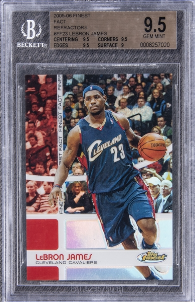 LeBron James basketball refractor trading card in a Clevland Cavaliers blue uniform