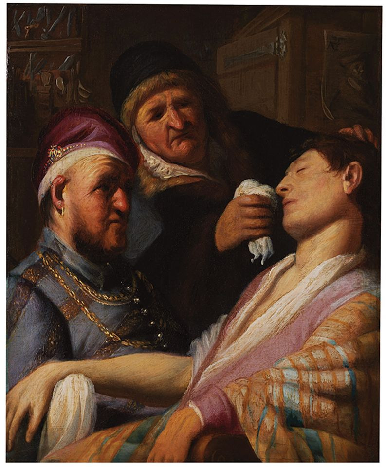 Unconscious Patient (Allegory of Smell) Rembrandt van Rijn (Leiden 1606 – 1669 Amsterdam) date ca. 1624–25, medium, oil on panel, inset into an eighteenth-century panel, dimensions 31.75 x 25.4 cm Courtesy: The Leiden Collection