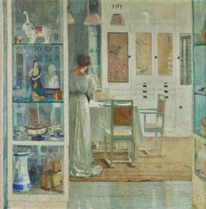 Interior scene with a woman