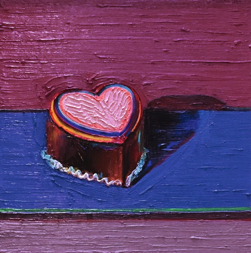 painting of a heart on purple on blue background