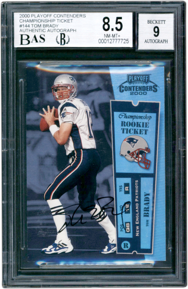 Tome Brady 2000 Contender Rookie card with ticket and autograph