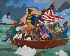 a group of black people crossing the Delaware river